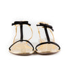 Prada Metallic T-Strap Flat Sandals with Bow Detail