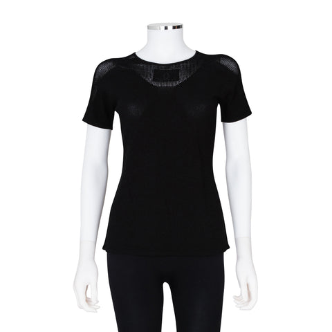 Chanel Short Sleeve Knit Top with Mesh