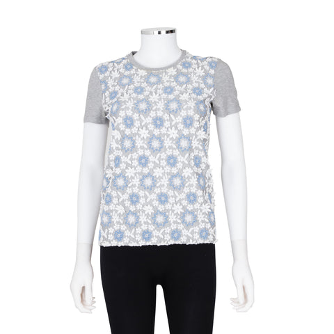 Prada Floral Embroidery Short Sleeve Top