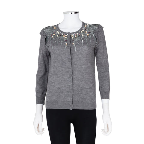 Red Valentino Long Sleeve Knit Cardigan with Jewelled and Sequin Embellishment