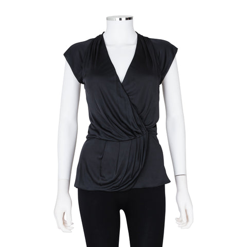 FendI Cap Sleeve Top with Pleated Detailing