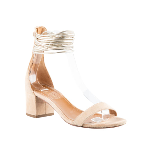 Aquazzura 'Spin Me Around' Suede Block Heel Sandals