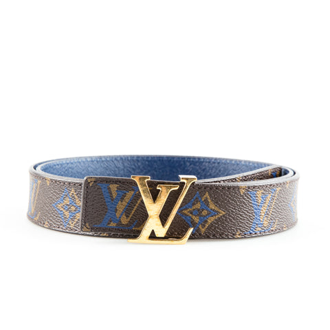 Louis Vuitton 'Initiales' Monogrammed Reversible Leather Belt