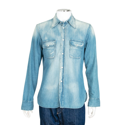 Gucci Denim Chambray Button Up Shirt