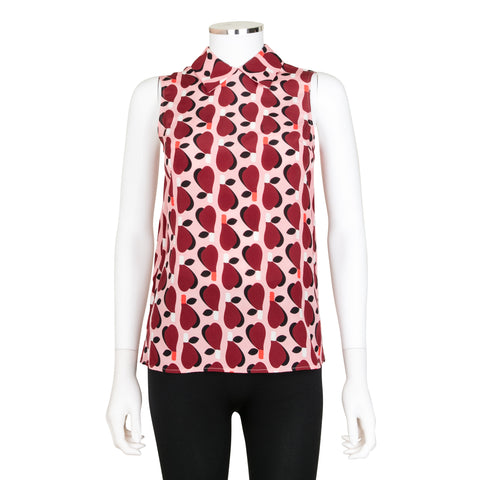 Miu Miu Geometric Print Collared Silk Top