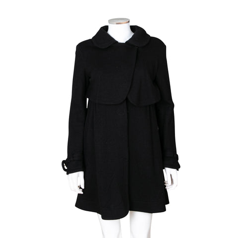Fendi Wool Coat with Leather Fendi Buckle Accent