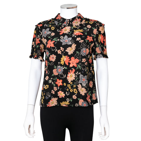 Red Valentino Floral Print Silk Collared Blouse