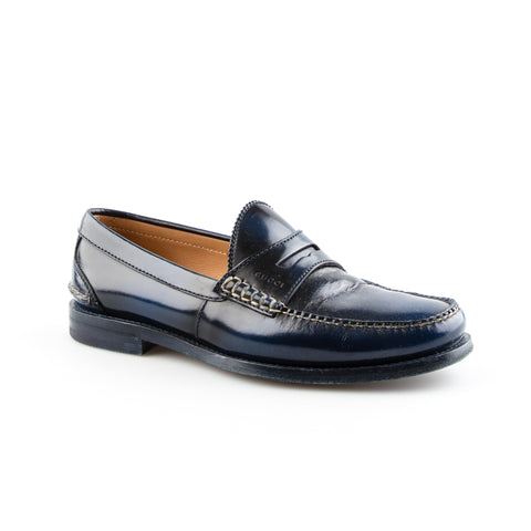 Gucci Navy Blue Leather Loafers with Beige Stitching