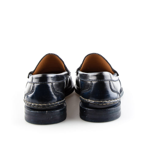ad306611d Gucci Navy Blue Leather Loafers with Beige Stitching – SuiteAdore
