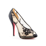 Christian Louboutin NEW Black Satin and Lace Peep Toe Pumps