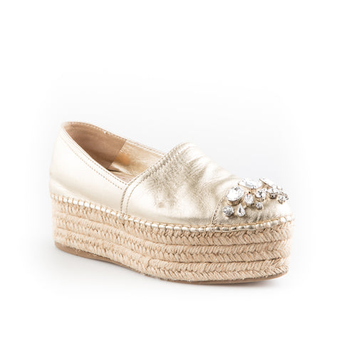 Miu Miu Jewelled Metallic Leather Platform Espadrilles