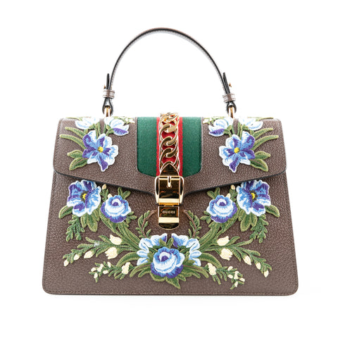 Gucci 'Sylvie' Top Handle Bag with Floral Embroidery