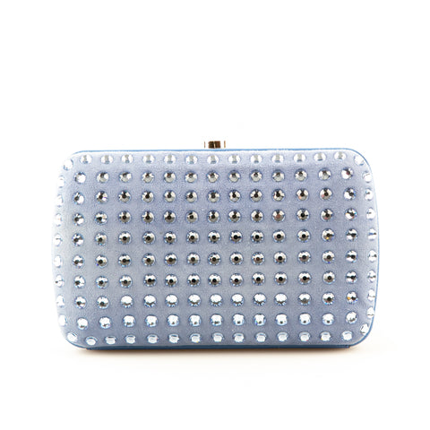 Gucci Blue Suede Box Clutch with Rhinestones