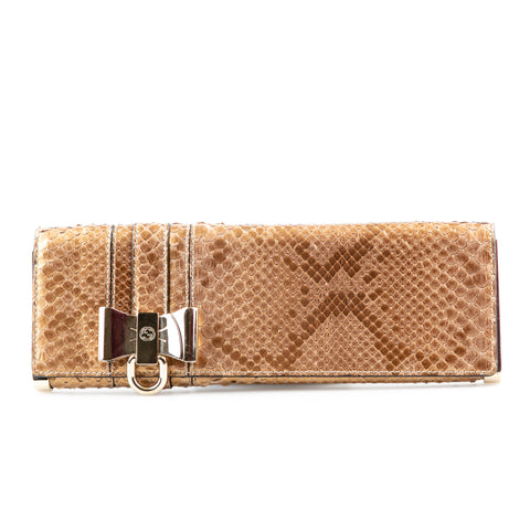 Gucci Metallic Gold Exotic Animal Clutch with Bow Accent