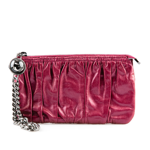 Gucci Metallic Purple Clutch with Chain Accent
