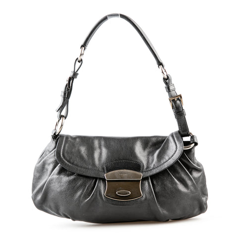 Prada Leather Shoulder Bag with Pleating