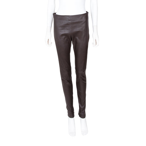 Balenciaga Brown Leather Leggings