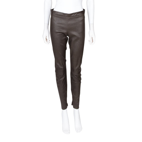 Vince Brown Leather Leggings with Zipper Detail at Cuff