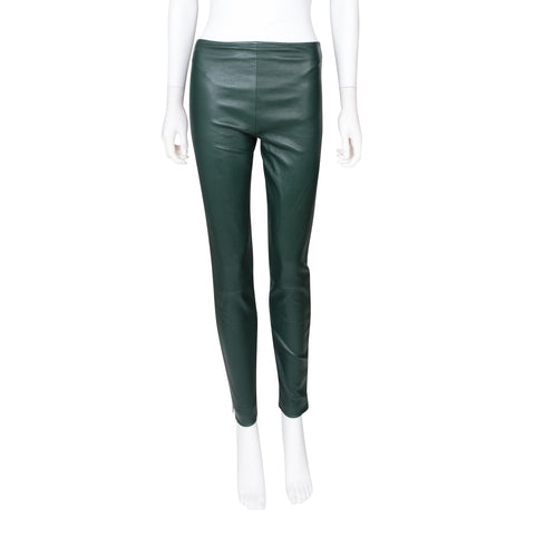 The Row Green Leather Leggings