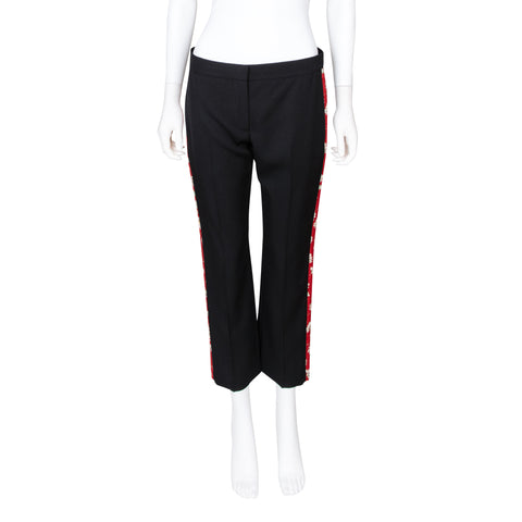 Alexander McQueen Straight Leg Cropped Pant with Floral Detail