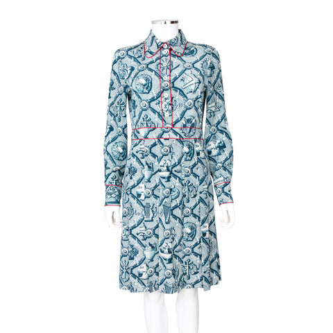 Gucci Long Sleeve Printed Shirt Dress with Pleat Detail