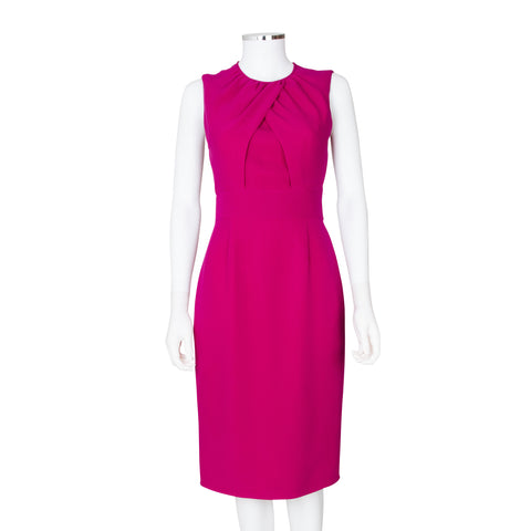 Burberry London Pink Sleeveless Dress with Pleat Detailing at Chest