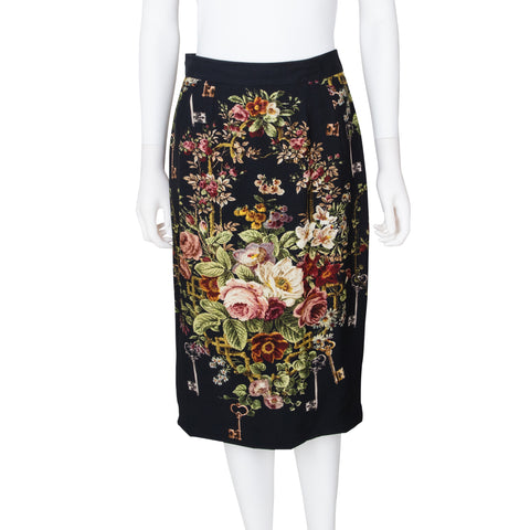 Dolce & Gabbana Key and Floral Printed Pencil Skirt