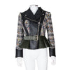 Alexander McQueen Peplum Hem Cropped Tweed Leather Jacket