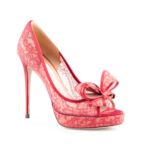 Valentino Lace Peep Toe Platform Pumps with Bow Detail
