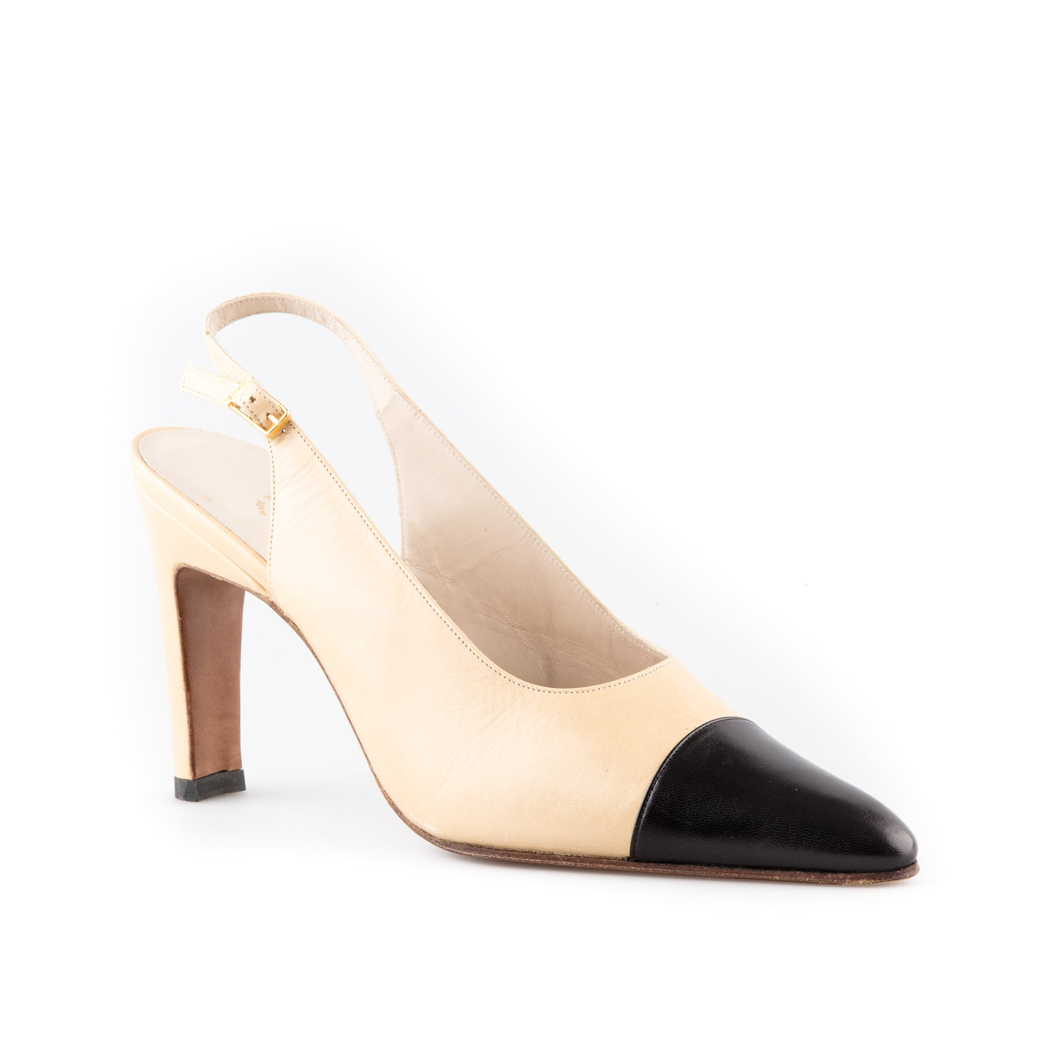 055a7f2503 Chanel NEW Classic Two Tone Slingback Pumps – SuiteAdore