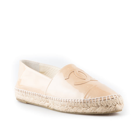 Chanel Beige Patent Leather Espadrilles