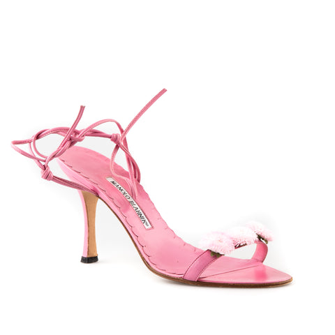 Manolo Blahnik Tie Up Strappy Sandals with Floral Details