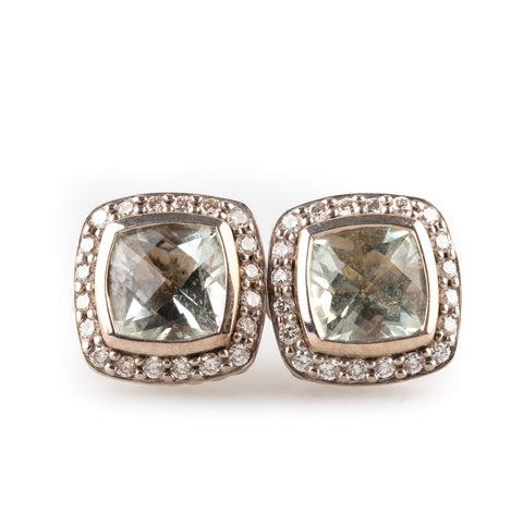 David Yurman 'Albion' Prasiolite and Diamond Earrings