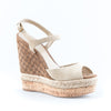 Gucci Monogrammed Suede and Cork Wedge Sandals