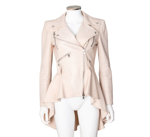 Alexander McQueen Asymmetrical Peplum Leather Jacket