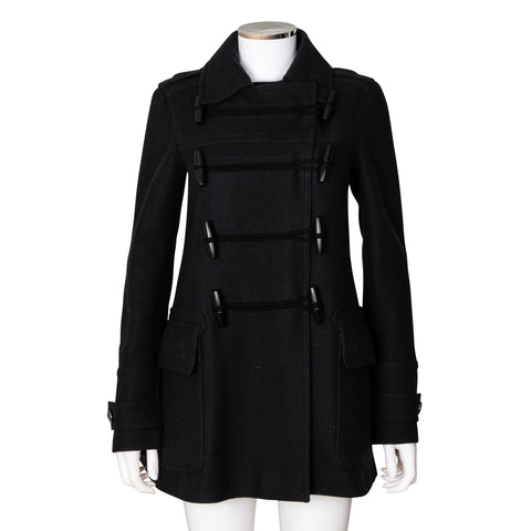 Burberry Brit Toggle Front Duffle Wool Blend Coat