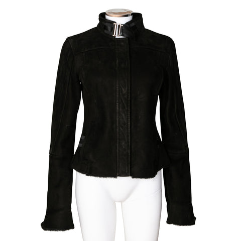 Gucci Suede Leather Mock Neck Jacket