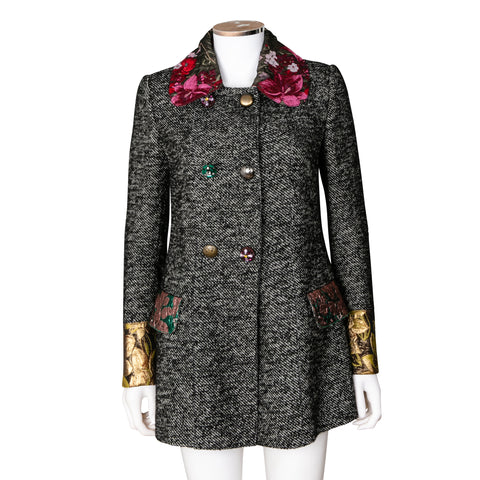 Dolce & Gabbana Tweed Jacket with Jewelled Buttons and Floral Embroidery