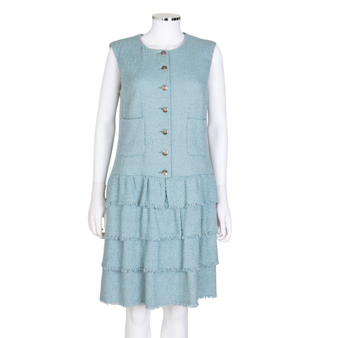 Chanel Sleeveless Wool Tweed Dress with Tiered Skirt