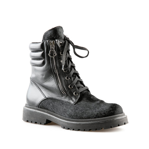 Moncler Pony Hair and Leather Flat Ankle Combat Boots