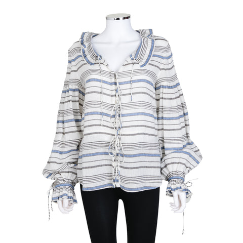 Chloe Striped Blouse with Ruffles