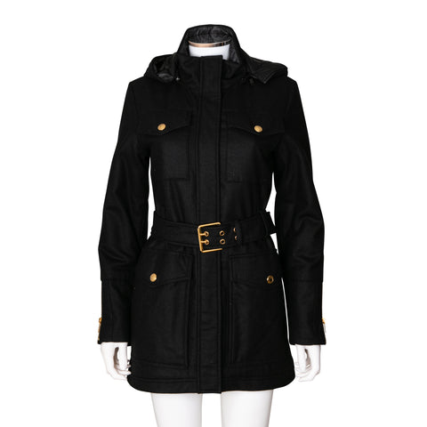 Gucci Wool Blend Coat with Hood and Waist Belt
