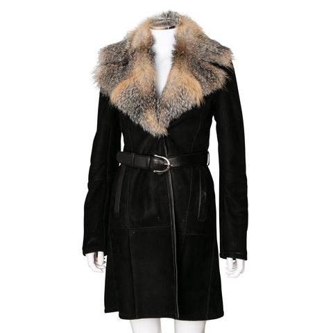 Gucci Shearling Leather and Fur Mid Length Coat
