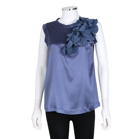 Brunello Cucinelli Sleeveless Silk Blouse with Ruffle Detail