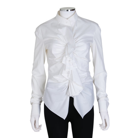 Givenchy Long Sleeve Button Up Blouse with Ruffle Detail
