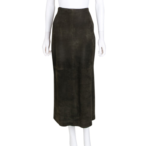 Ralph Lauren Green Suede Midi Skirt