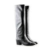 Chanel Black Pebbled Leather Knee High Low Heel Boots