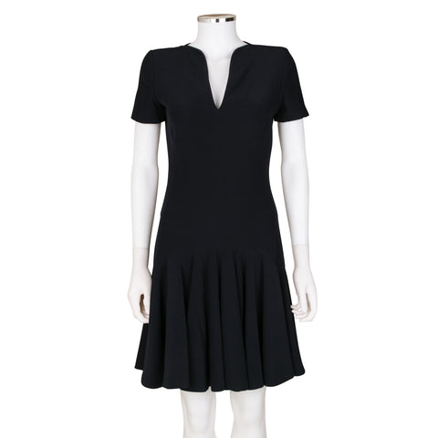 Alexander McQueen Short Sleeve Dress with Pleated Skirt