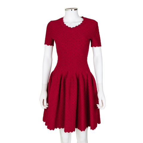 Alaïa Short Sleeve Red Fit and Flare Dress