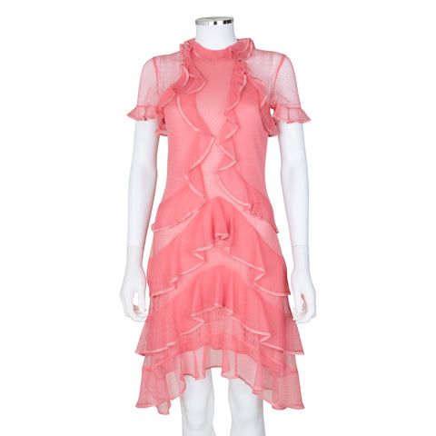 Alexander McQueen Short Sleeve Ruffle Dress